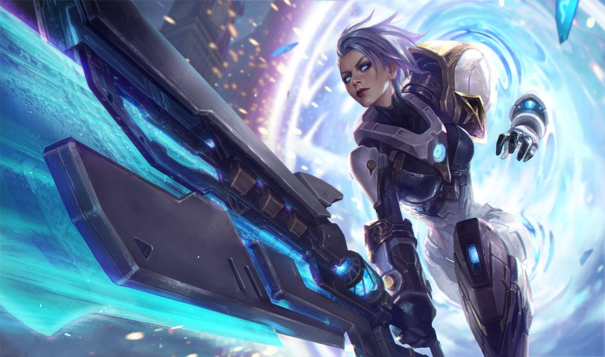 Pulsefire Riven emerges from a portal while swinging her gigantic sword