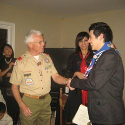 David Archuleta received his Eagle Scout Award in December 2010, two years after he completed it. The celebrity singer from Murray was encouraged by one of his leaders, Cal Madsen, left.