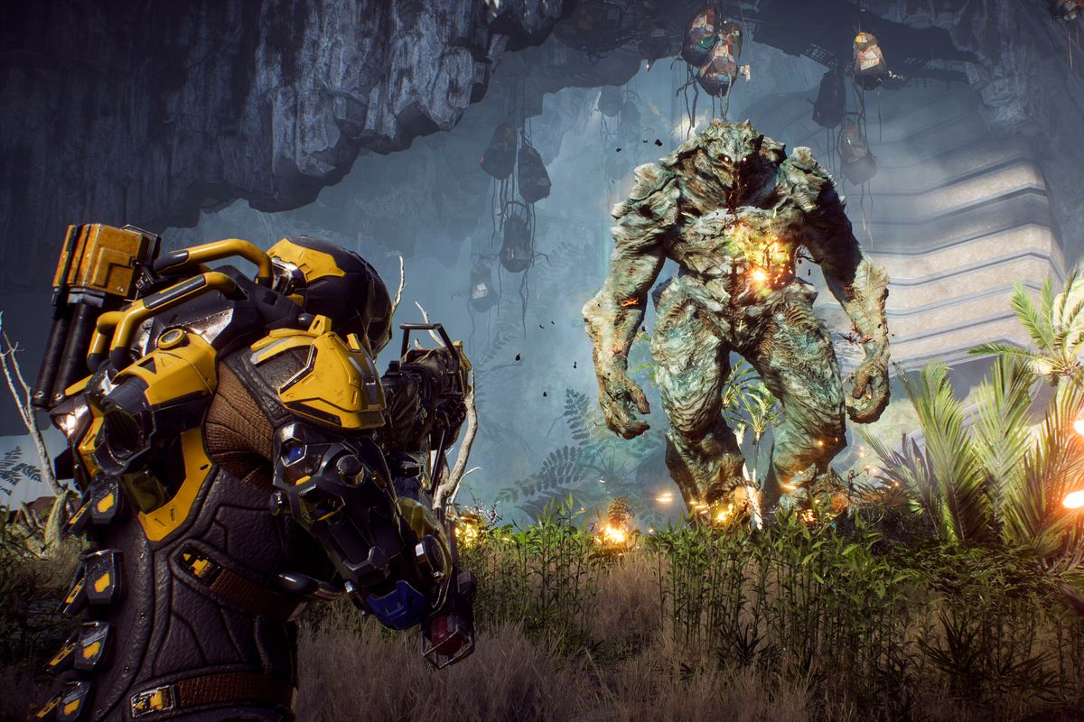 Anthem - two players shooting a Scar