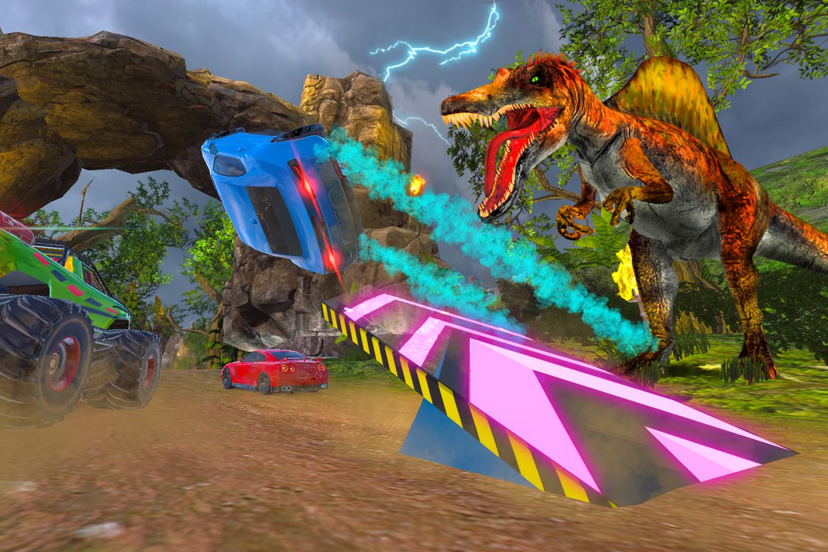 a T. rex snarling at a blue sports car going off a banked jump ramp in Cruis'n Blast