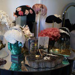Fancy headwear at Marie's showroom.