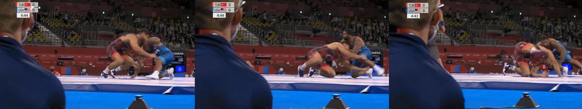 Gable Steveson scores on Taha Akgul Tokyo Olympics