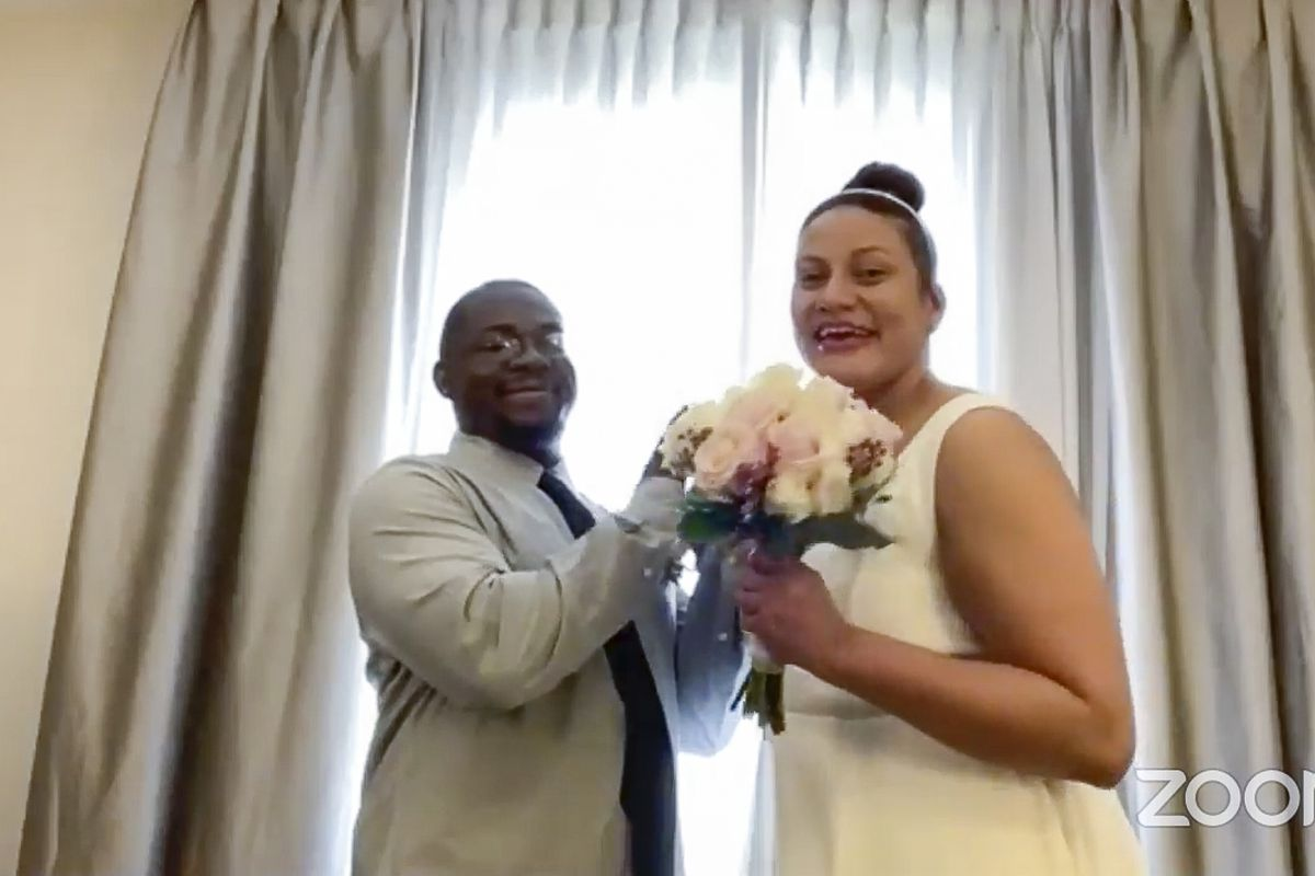 Ashley Graff and Undra Baldwin of Elgin were married Monday in a virtual ceremony officiated by Cook County Clerk Karen Yarbrough.