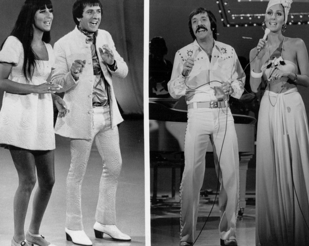 """Sonny and Cher and the fashions of Bob Mackie on """"The Sonny & Cher Comedy Hour."""" 