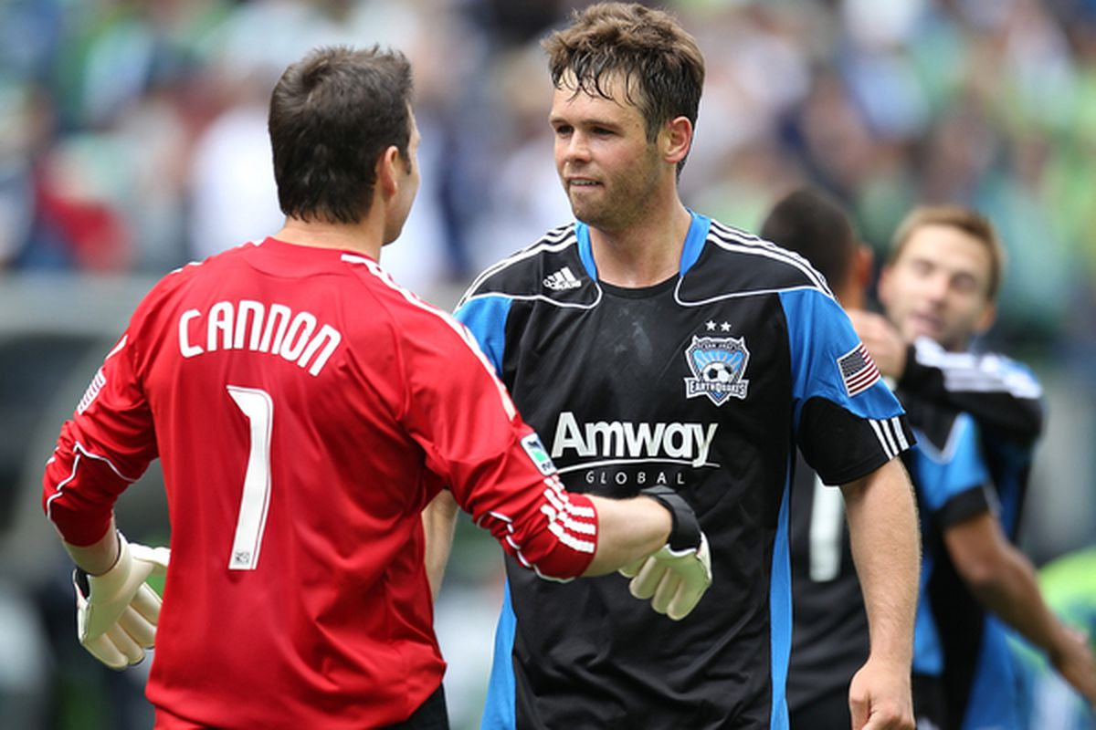 SEATTLE - MAY 22:  Goalkeeper Joe Cannon #1 of the San Jose Earthquakes celebrates with Bobby Burling #2 after defeating the Seattle Sounders FC 1-0 on May 22, 2010 at Qwest Field in Seattle, Washington. (Photo by Otto Greule Jr/Getty Images)