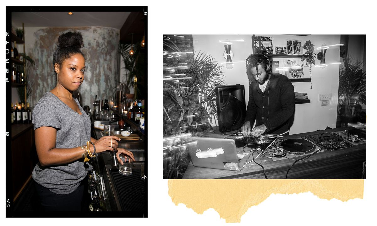 Marva Babel, the founder of Ode to Babel fixing a drink behind the bar and a DJ adjusting knobs on the turntable.