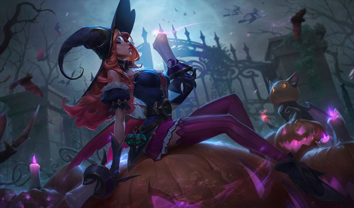 Bewitching Miss Fortune poses on a pumpkin, blowing off the top of her gun