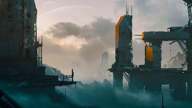 Artwork of a futuristic structure in orange and blue against clouds