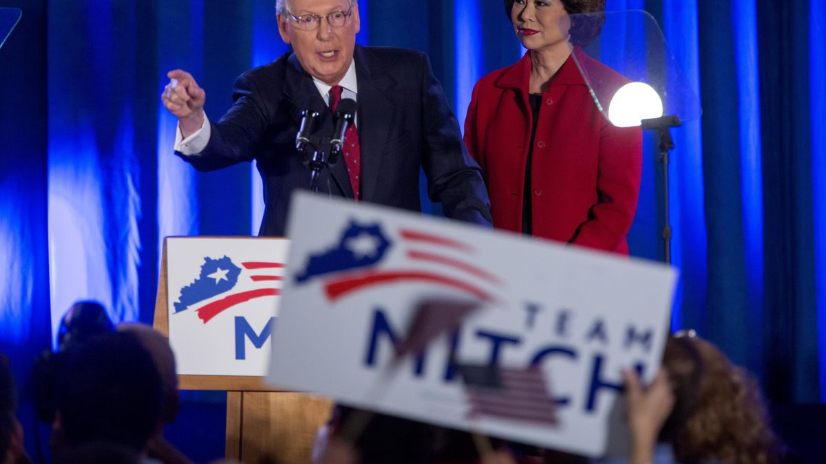 Mitch McConnell, the likely next Senate Majority Leader, celebrates his own reelection.