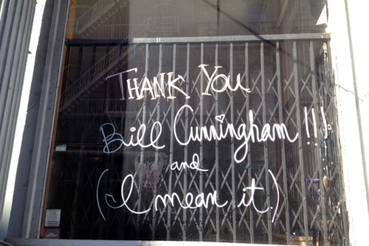 Bill Cunningham gets thanked on Franklin Street in Tribeca