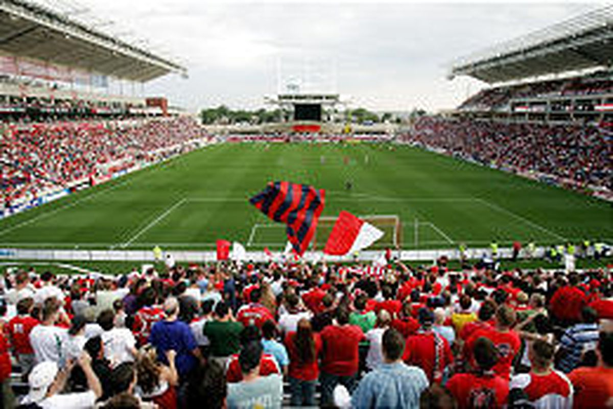 Fans watch as the Chicago Fire open their new stadium, Toyota Park, with a game between the Fire and New York last Sunday. Chicago hosted RSL Wednesday.