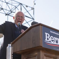 Presidential candidate Bernie Sanders speaks to thousands gathered at his rally Saturday, March 7, 2020 in Grant Park.