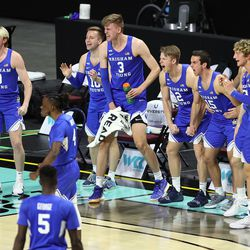 BYU players celebrate as BYU and Gonzaga play in the finals of the West Coast Conference tournament at the Orleans Arena in Las Vegas on Tuesday, March 9, 2021. Gonzaga won 88-78.
