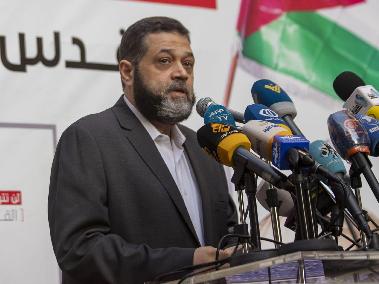 Senior Hamas official Osama Hamdan speaks during a rally organized by Lebanon's militant Hezbollah group to express solidarity with the Palestinian people, in the southern suburb of Beirut, Lebanon, Monday, May 17, 2021.