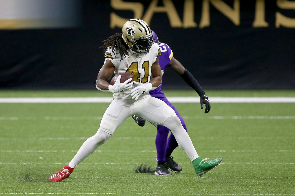 New Orleans Saints running back Alvin Kamara (41) is defended by Minnesota Vikings cornerback Jeff Gladney (20) in the second half at the Mercedes-Benz Superdome.