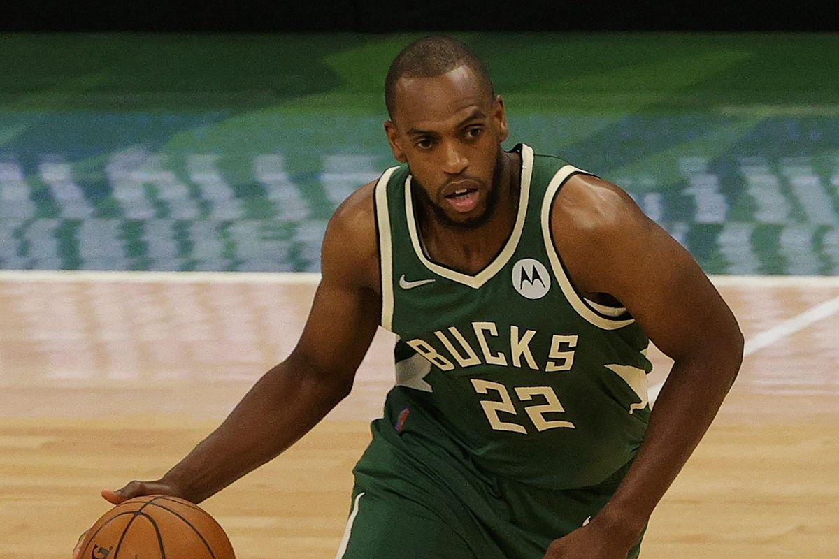 Khris Middleton of the Milwaukee Bucks handles the ball against the Brooklyn Nets during the first half of Game Three of the Eastern Conference second round playoff series at the Fiserv Forum on June 10, 2021 in Milwaukee, Wisconsin.