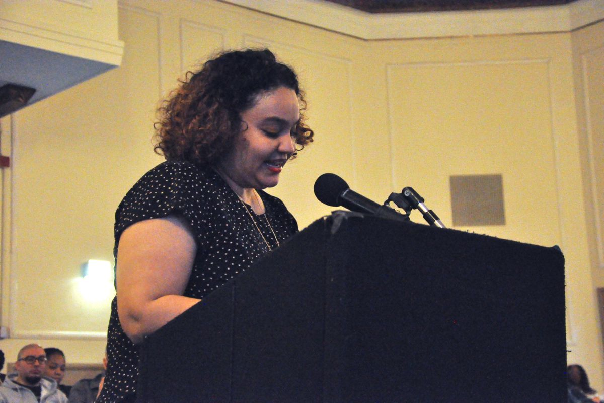 Jessica Reyes, the parent of a People's Prep Charter School student, argued at Tuesday's school board meeting that the state should allow the school to continue operating.