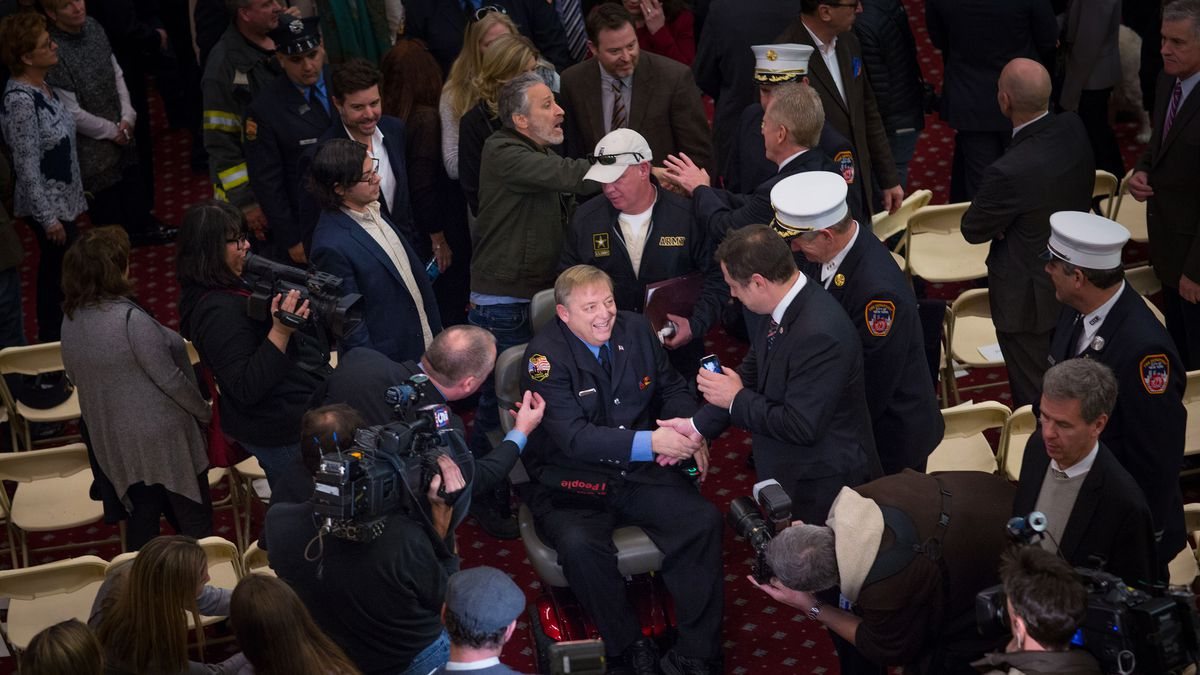Mayor Bill de Blasio awards the Key to the City to former FDNY firefighter and long-time Zadroga advocate Ray Pfeifer during a Zadroga Act celebration at City Hall on Saturday, January 9, 2016. The event was attended by Mr. Pfeifer's family, comedian Jon Stewart, FDNY Commissioner Daniel Nigro, Congressmen Jerrold Nadler and Peter King, Manhattan Borough President Gale Brewer and other invited guests.