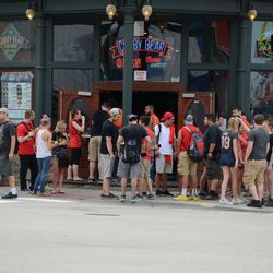 1:08 p.m. Crowd outside of the Cubby Bear -