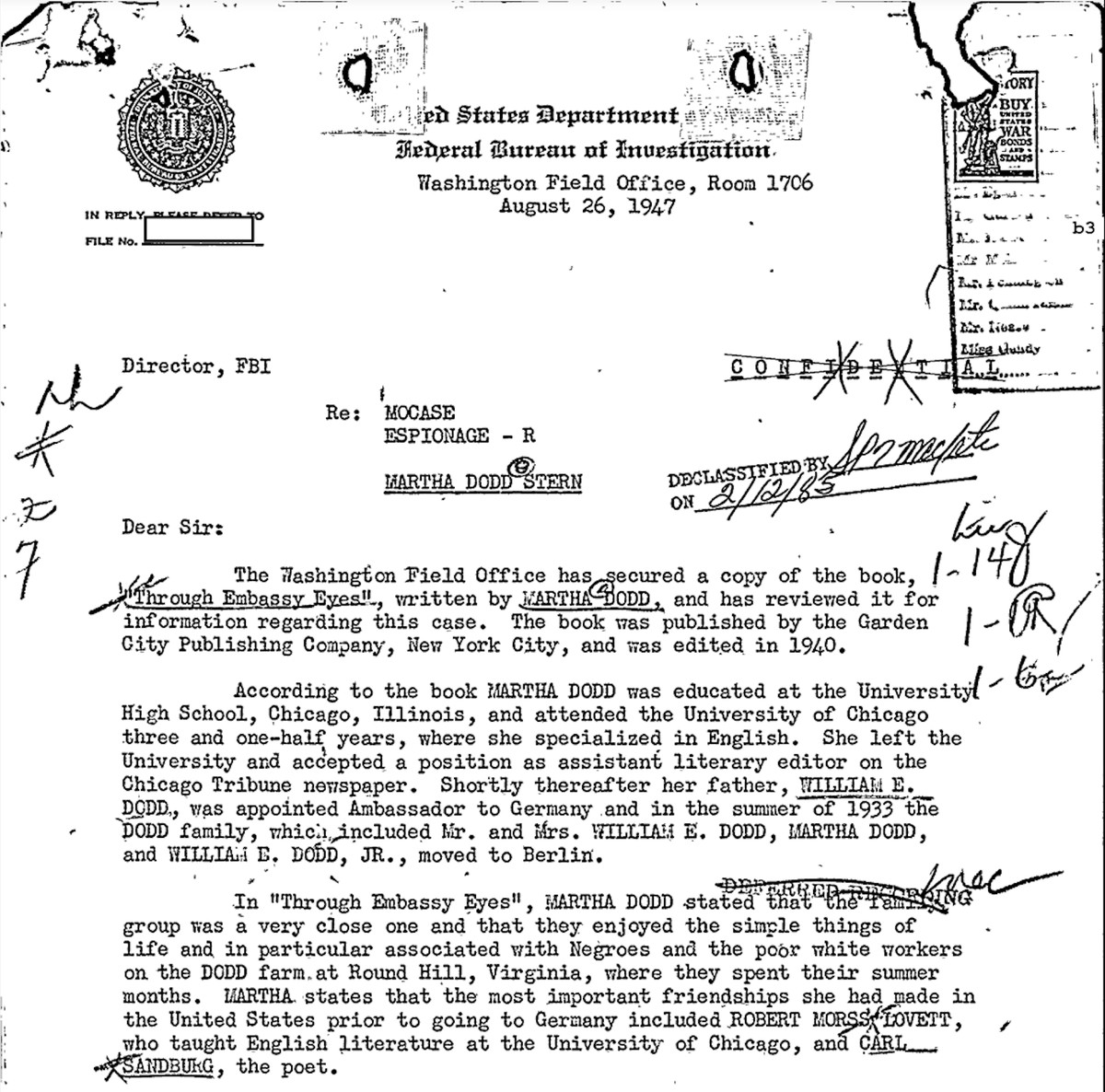Part of Martha Dodd Stern's FBI files, obtained by the Chicago Sun-Times.