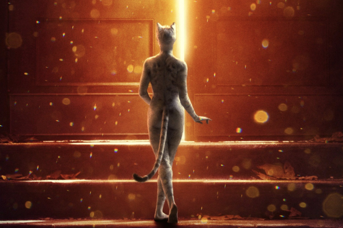 The Cats movie's official poster shows a person in a cat outfit walking away from the camera toward a door.