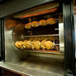 Rotisserie where many of the signature menu items are made.
