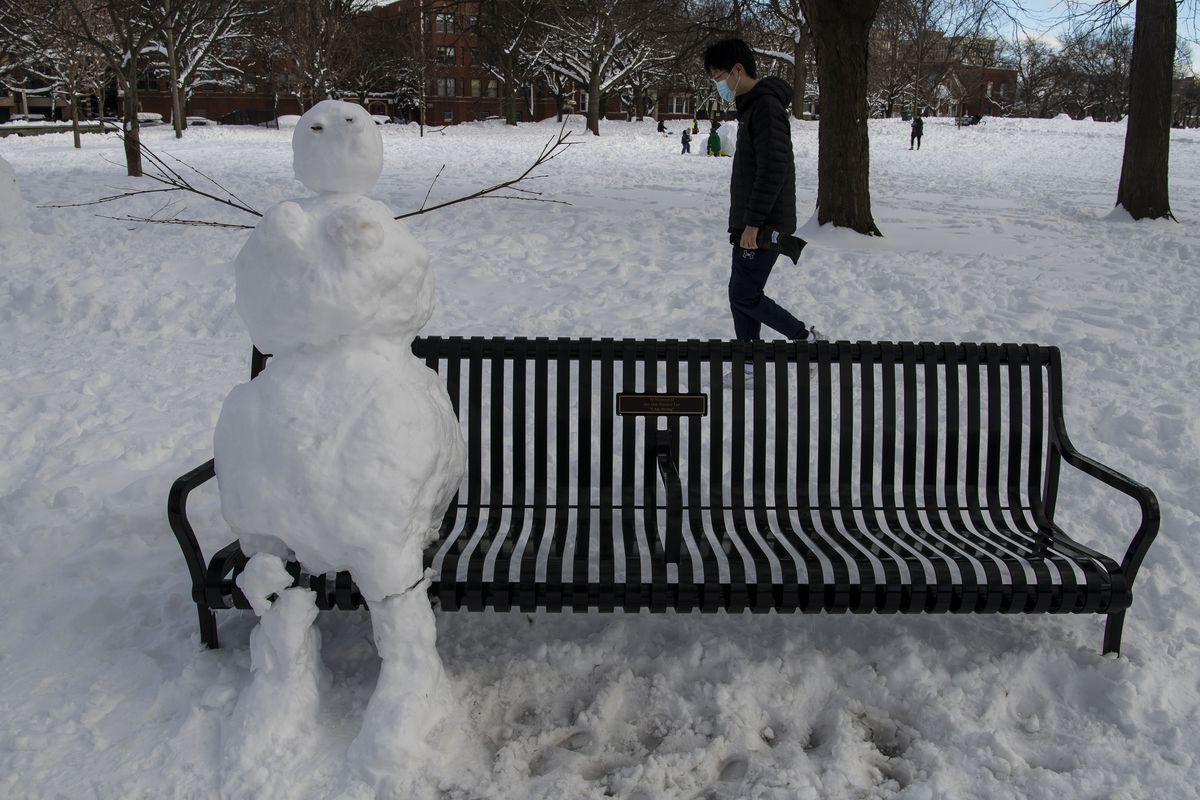 A man walks by a snowman that was built sitting on a bench, at Nichols Park in the Hyde Park neighborhood