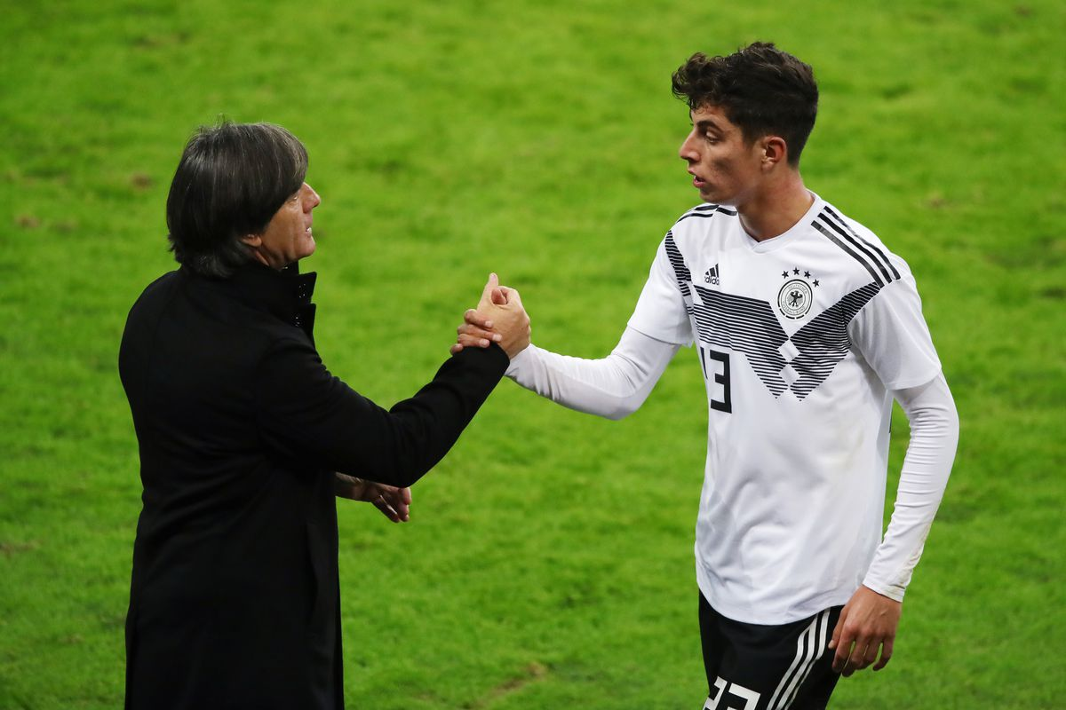 Germany v Russia - International Friendly LEIPZIG, GERMANY - NOVEMBER 15: Kai Havertz of Germany shake hands after his substitution with Head coach Joachim Loew of Germany during the International Friendly match between Germany and Russia at Red Bull Arena on November 15, 2018 in Leipzig, Germany.