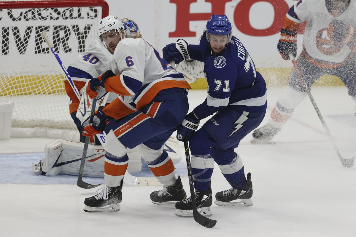 New York Islanders defenseman Ryan Pulock (6) skates against Tampa Bay Lightning center Anthony Cirelli (71) in the second period of Game 2 of the Stanley Cup Playoffs Semifinals between the New York Islanders and Tampa Bay Lightning on June 15, 2021 at Amalie Arena in Tampa, FL.