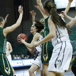 Brigham Young Cougars guard Cassie Broadhead (20) drives on San Francisco Lady Dons during the WCC tournament championship in Las Vegas Tuesday, March 8, 2016.  San Francisco won 70-68.