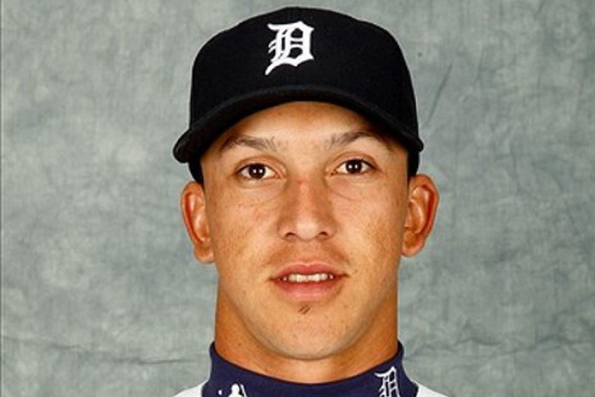 Detroit Tigers shortstop Hernan Perez (52) poses for photo day in the rec room at the Detroit Tigers headquarters.  Mandatory Credit: Derick E. Hingle-US PRESSWIRE