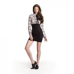 Plaid Button-Down in Pink/Cream, $34.99 Embellished Skirt in Black, $39.99