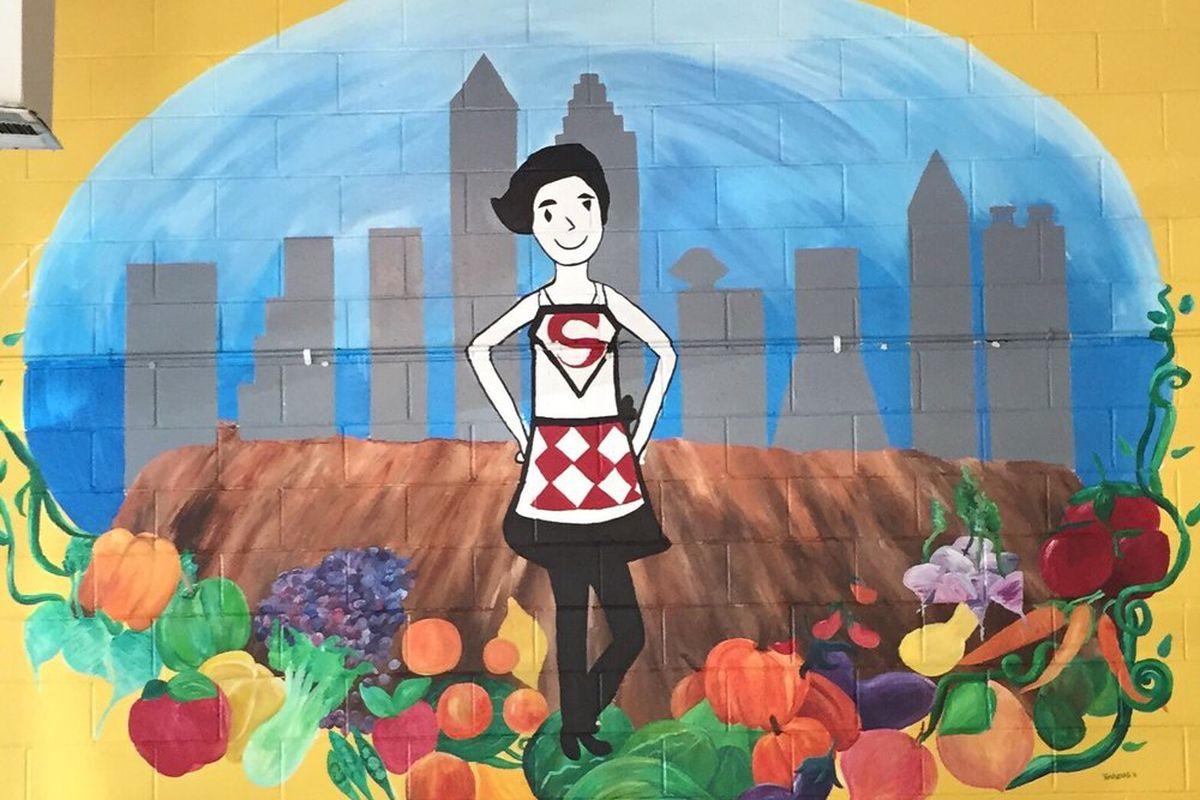 A mural inside Souper Jenny Westside.