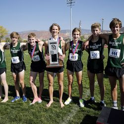 Rowland Hall runners win second place in the 2A boys high school state cross-country championship in Cedar City on Wednesday, Oct. 21, 2020.