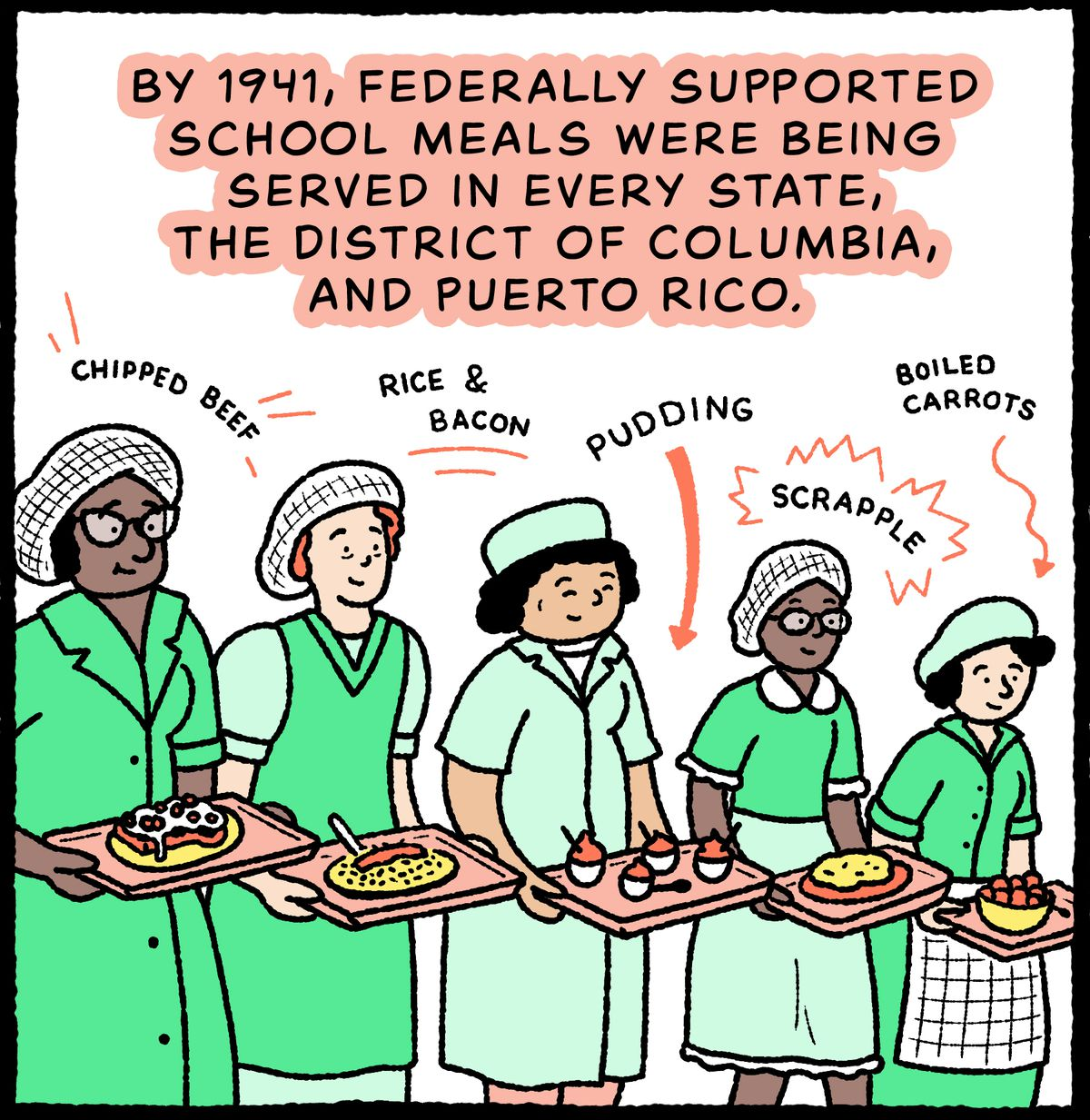 Rangée de travailleurs du déjeuner offrant des plateaux, y compris du bœuf haché, du riz &AMP ;  bacon, puddings, sablés aux fruits, scrapple, carottes bouillies : en 1941, des repas scolaires soutenus par le gouvernement fédéral étaient servis dans tous les États, le district de Columbia et Porto Rico.