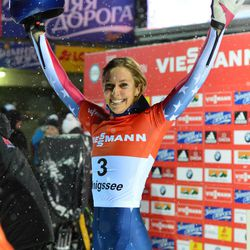 Winner Noelle Pikus-Pace from the United States celebrates after the women's Skeleton World Cup race in Koenigssee, Germany, Friday, Jan. 11, 2013.
