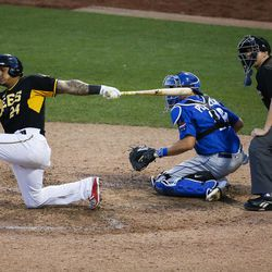 Salt Lake Bees outfielder Jefry Marte swings at a pitch during a game against the Las Vegas 51s at Smith's Ballpark in Salt Lake City on Monday, June 5, 2017.