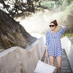 """Samantha of <a href=""""http://couldihavethat.blogspot.com/"""">Could I Have That? </a>is wearing a <a href=""""http://www.shoshanna.com/shop/swim/cover-ups-5/buoy-print-button-down-shirt-4"""">Shoshanna</a> cover up, <a href=""""http://www.intermixonline.com/product/s"""