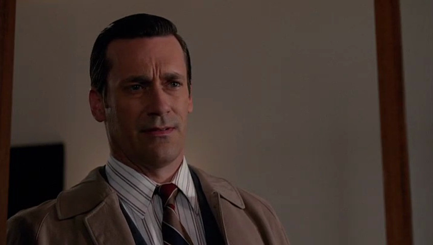 """Whereas Don (Jon Hamm) looks cool and collected in the Mad Men episode """"Severance."""""""