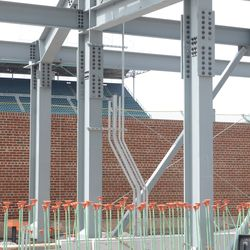 Conduit leading up to the Budweiser sign in right field -