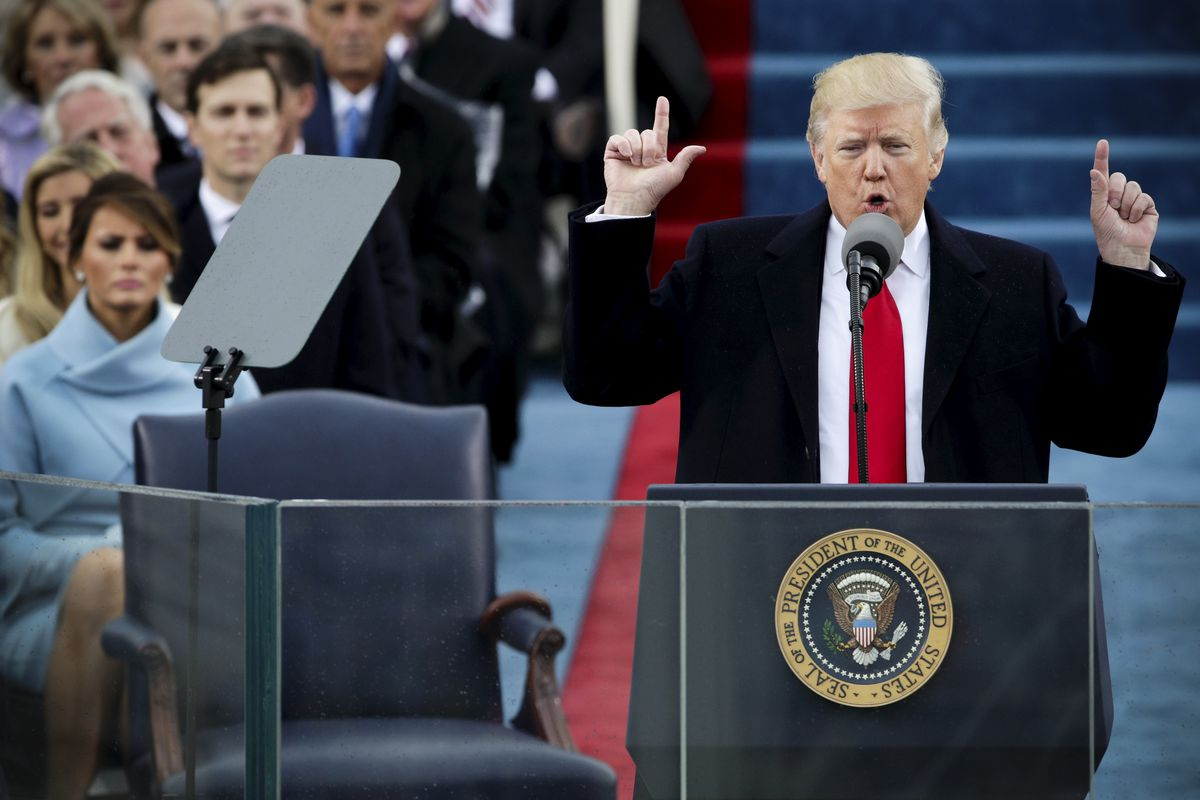 President Donald Trump delivering his inaugural address.