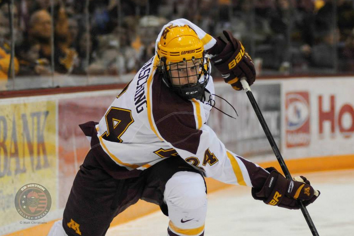 Hudson Fasching (24) scored twice for Minnesota, ending the weekend with 3 goals.