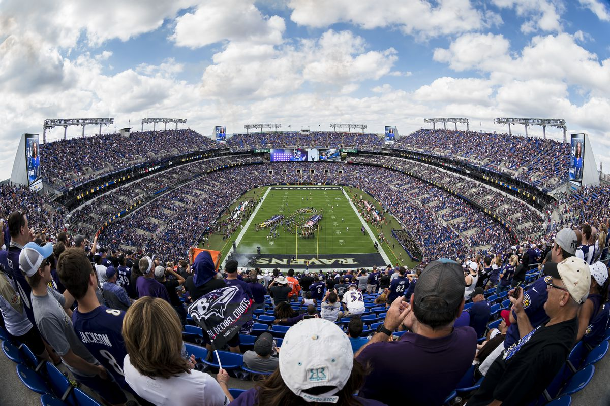 A general view of the stadium before the game between the Baltimore Ravens and the Cleveland Browns at M&T Bank Stadium on September 29, 2019 in Baltimore, Maryland.