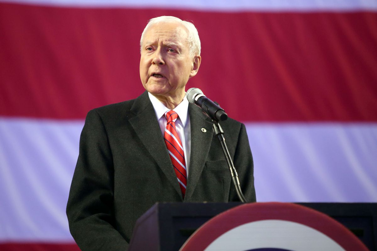 Sen. Orrin Hatch speaks during the Utah Republican Party Nominating Convention at the Maverik Center in West Valley City on Saturday, April 21, 2018.