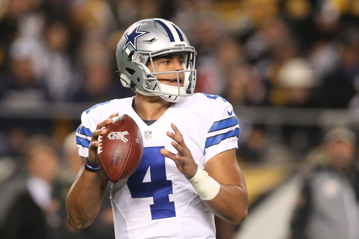 Dallas Cowboys quarterback Dak Prescott looks to pass against the Pittsburgh Steelers during the second quarter at Heinz Field. Dallas won 35-30