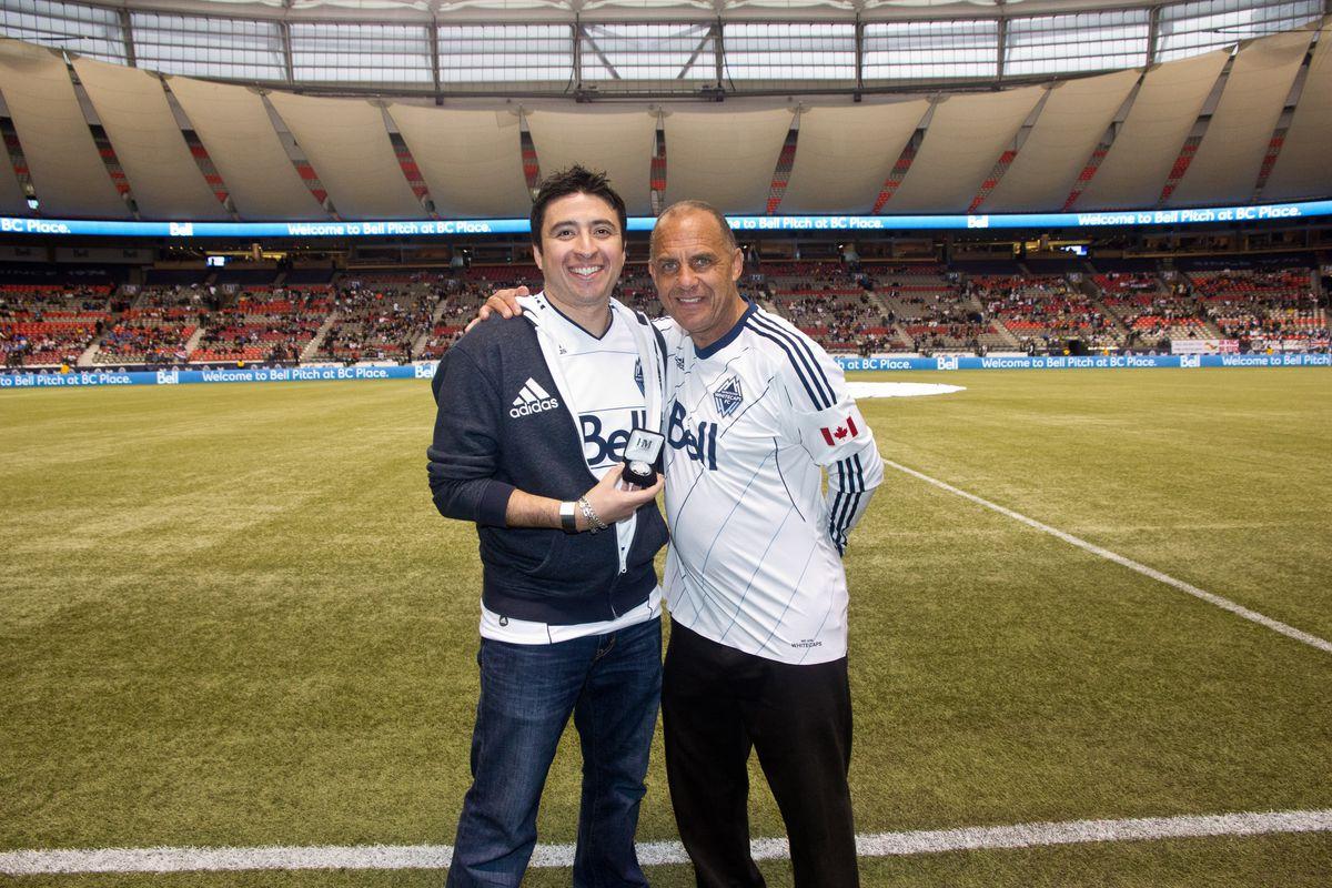 Vancouver Whitecaps Ambassador Carl Valentine and From The Backline host Jorge Mendoza