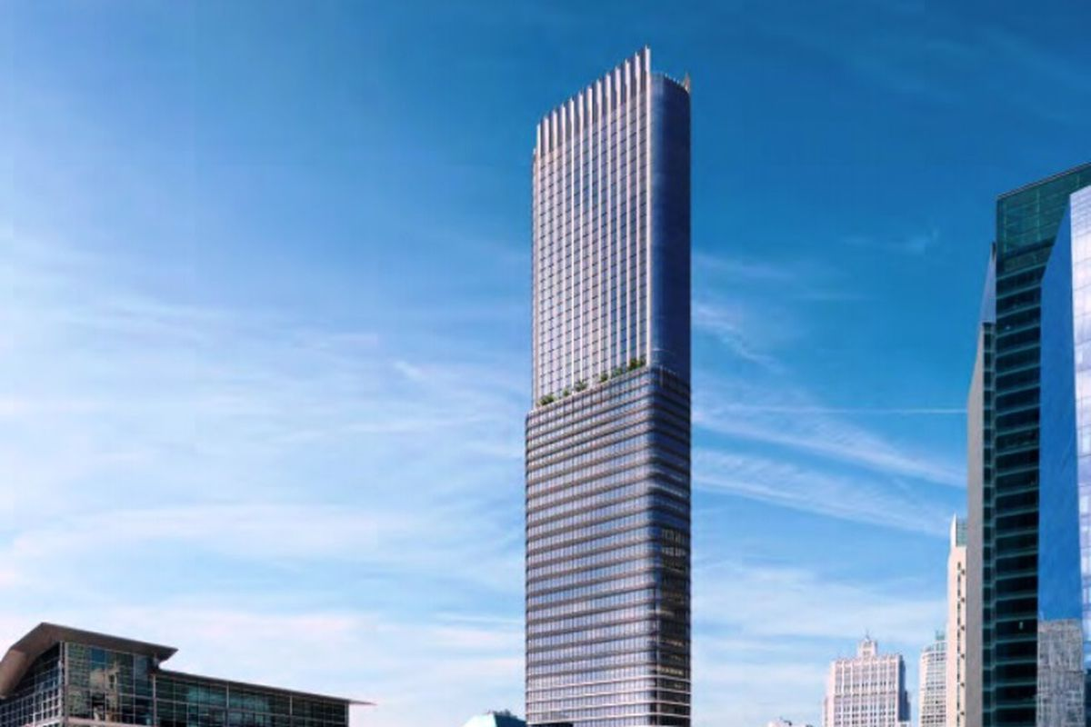 A rendering of the 800-foot building proposed for 550 Howard.