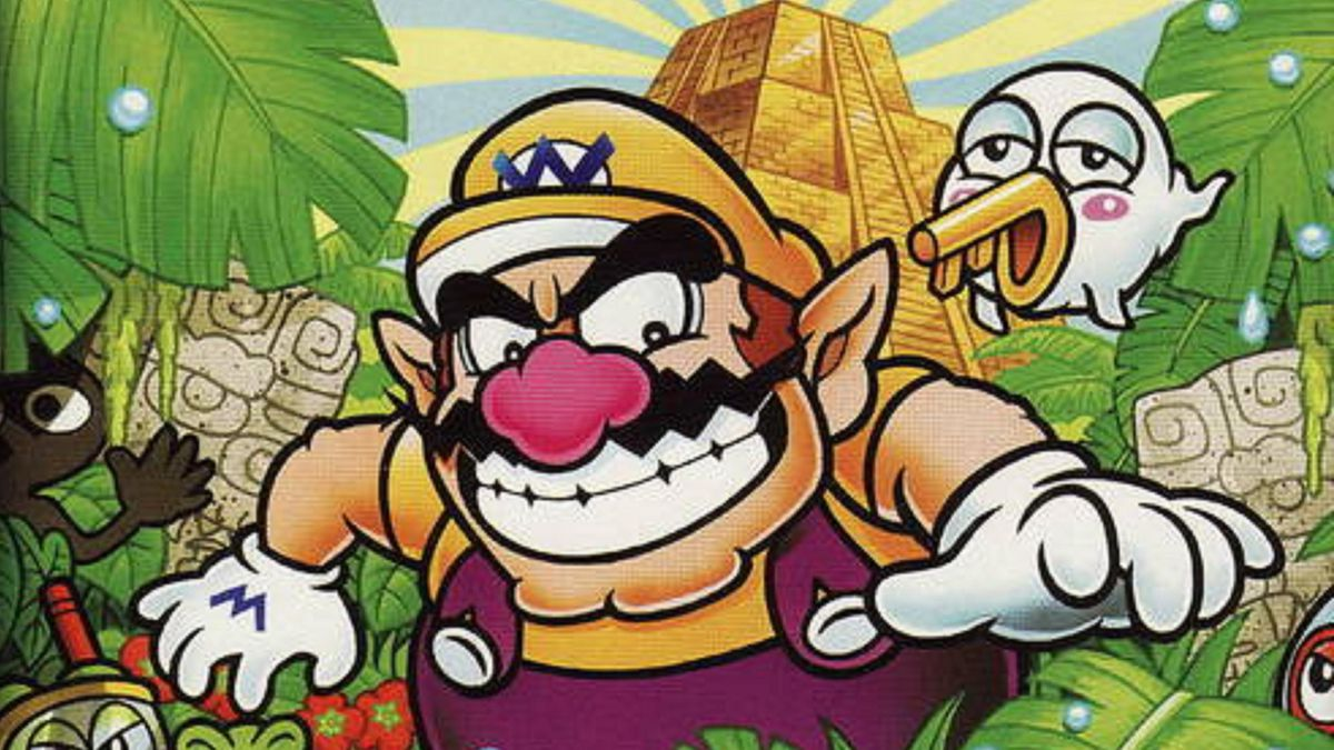 Wario Land 4 on Game Boy Advance cover. Wario is standing in a jungle, surrounded by tropical leaves and a few animals