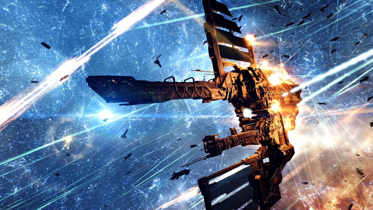 A ship in the F4R2-Q system comes under fire during a vicous battle in Eve Online.