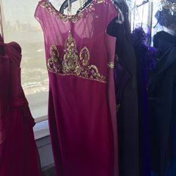 Magenta gown with gold detail, $100